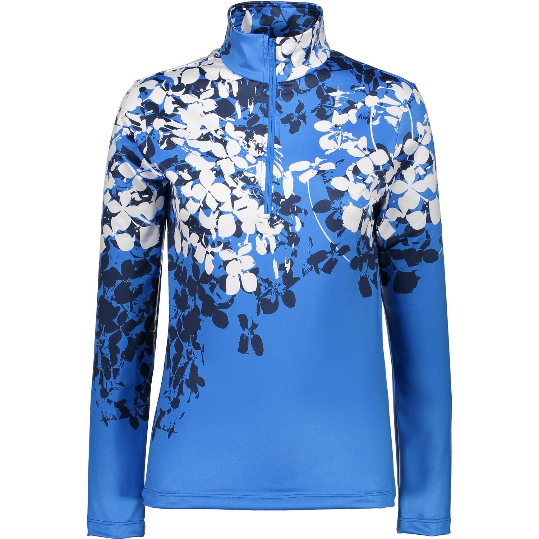 CMP Sweat Function Top Collar Shirt blue Softech Stretch Pattern
