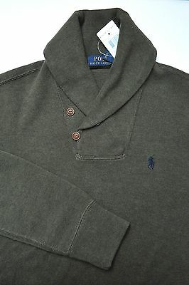 NWT Polo Ralph Lauren Mens Shawl Collar Dk Olive Pullover Cotton Sweat Sweater S