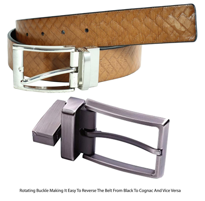 Herren Schwarz Cognac Reversibel Birck Strukturiert Original Leder Gürtel S-3XL