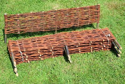 Weide Beetumrandung Zaun Palisade Senility VerzöGern Weidenzaun 10 Stück Beeteinfassung 120x20cm