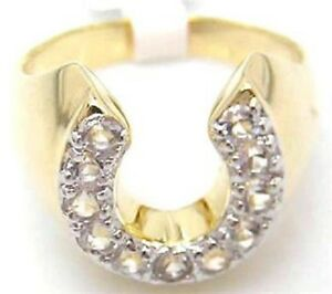18K-GOLD-EP-CZ-ROUND-CUT-MENS-LUCKY-HORSE-SHOE-RING-size-8-14-you-choose