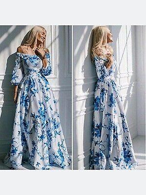 Vintage Women Boho Floral Print Long Sleeve Party Cocktail Evening Maxi Dress