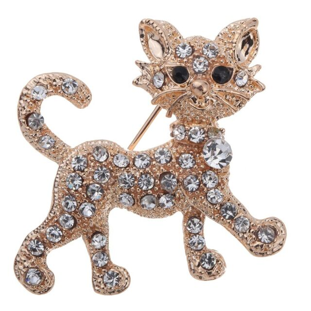 Luxurious Gold Plated Full Shining Rhinestone Crystal Tiger Brooch Wedding Gift
