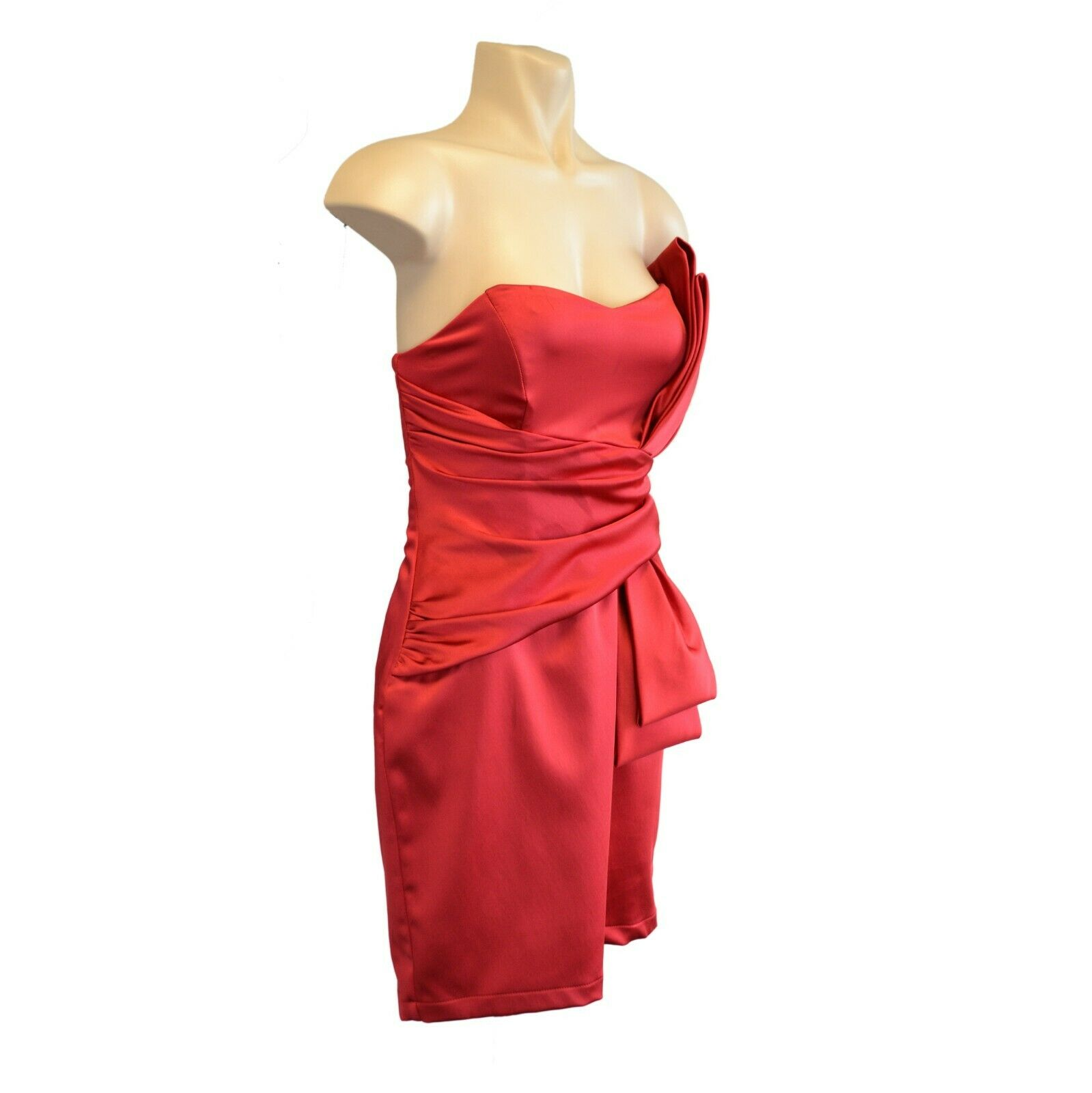 NEW Womens Navy Black  //Red Satin Lined Bandeau Dress Bow Detail  Size 8-20
