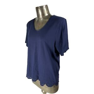 Emreco Cotton Navy Top T-Shirt NEW UK L 16 (EU44) Women's RRP £33