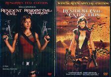 RESIDENT EVIL 1- 2- 3- Trilogy- Apocalypse- Extinction- NEW 3 DVD
