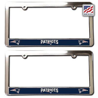 2 NEW ENGLAND PATRIOTS License Plate Frames Chrome Faced car accessory football