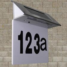Solar Powered 4 LED House Address Number Stainless Steel Doorplate Light Lamp FM