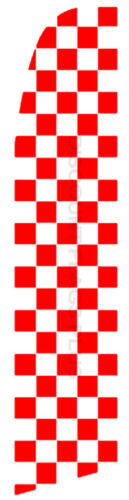 CHECKERED Red White Car Racing Swooper Banner Feather Flutter Curved Top Flag