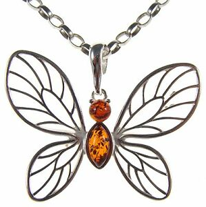 BALTIC-AMBER-STERLING-SILVER-925-BUTTERFLY-PENDANT-NECKLACE-CHAIN-JEWELLERY-GIFT