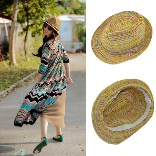 NEW Women Beauty Colorful Striped Straw Beach Summer Sun Panama Hat Foldable