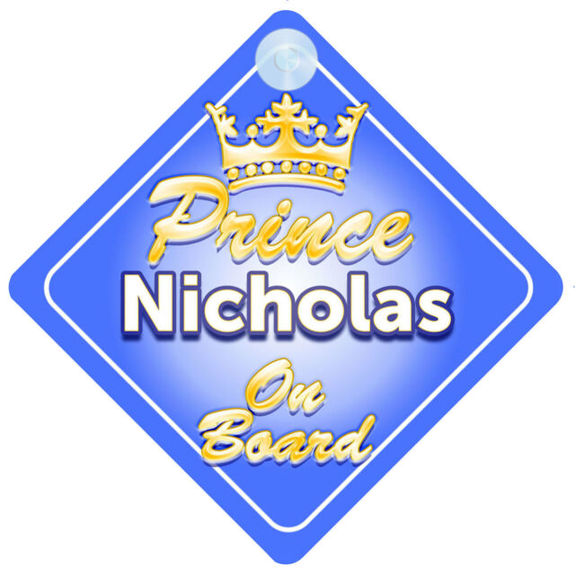NEW Blue Personalised  TROPHY PRINCES  Baby On Board Car Window Sign Decal