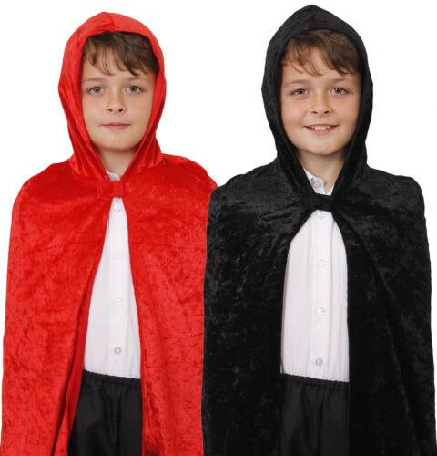 Childs Velours Velours à Capuche Cape Halloween Fancy Dress Costume Gothique Vampire