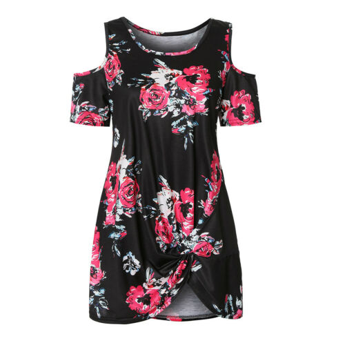 Women Summer Cold Shoulder Tie Knot Floral Print Tops Casual Shirts Blouse Up