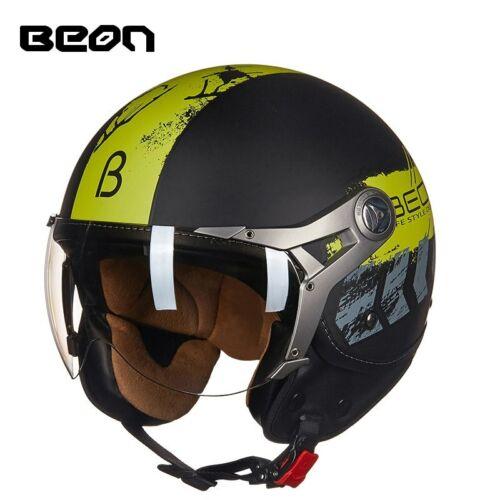 BEON Motorcycle Helmet Women Men Vintage 3//4 Scooter Half Helmets Rider Headgear