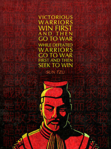 """Victorious and Defeated Warriors 18/"""" x 24/"""" Sun Tzu Inspirational Quote Poster"""