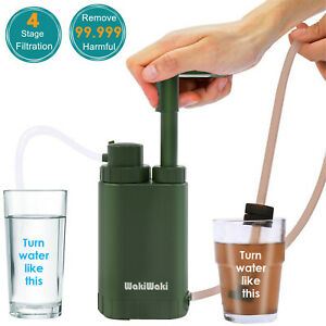 Personal Water Filter Pump Purifier for Camping Hiking Backpacking Survival Tool