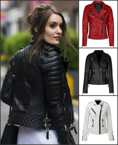 Women/'s Slim Fit Biker Diamond Quilted Kay Michaels Leather Jacket In 3 Colors