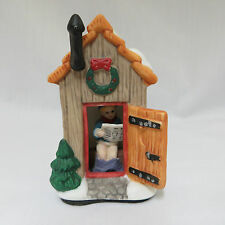 """Christmas Village Town Outhouse Building 3.75"""" Porcelain Holiday Town Accessory"""