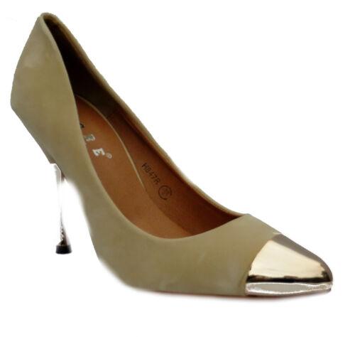 Femme Neuf Noir Bordeaux Nude Patent Daim bouts métallique Chaussures Noël Fête UK 3-8