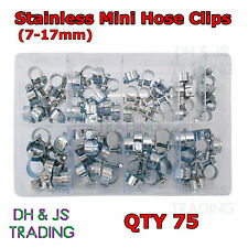 Assorted box of Stainless Mini Hose Clips (7-17mm) Qty 75 Jubilee Clip Clamp