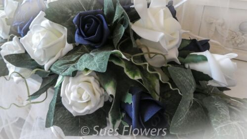 Wedding Flowers Table Centrepiece in Navy Blue and Ivory Flowers
