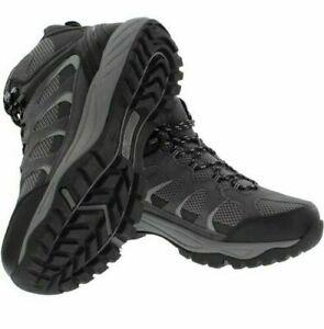Khombu-Tyler-Men-039-s-Leather-Hiking-Outdoor-Boots-Black-Grey-pick-SIZE
