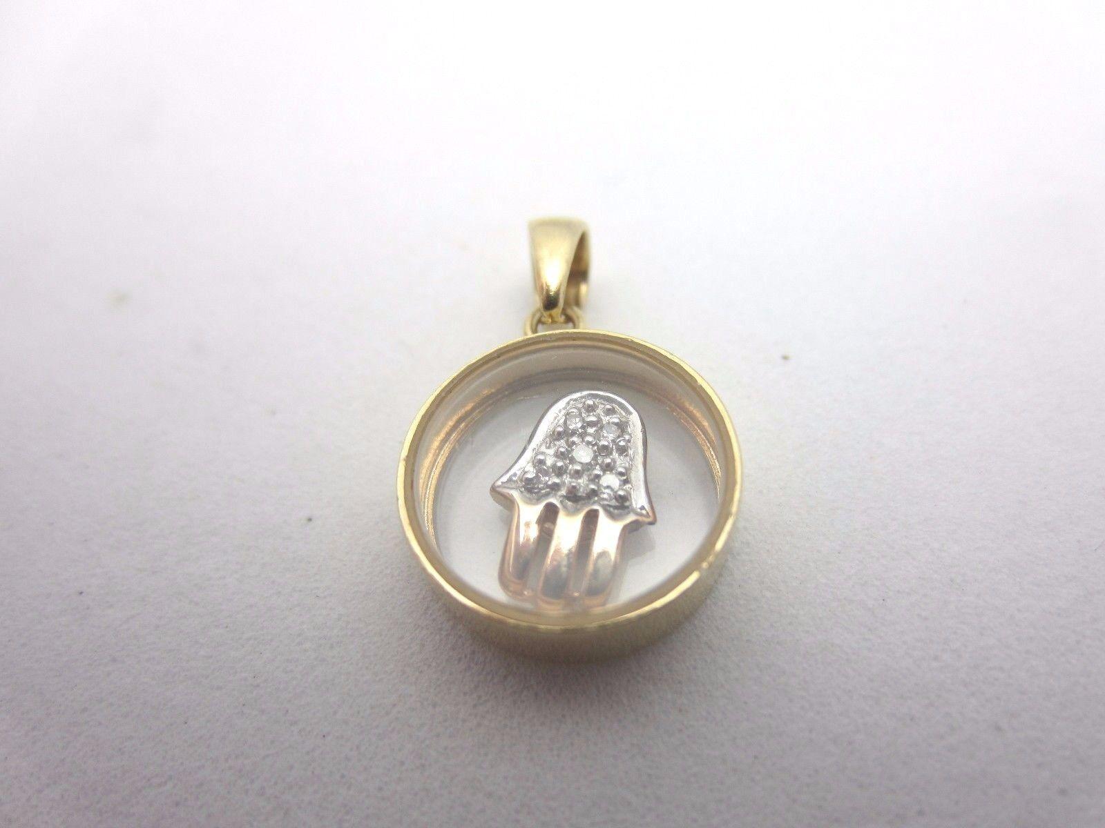 14k yellow gold diamond Hamsa Hand moveable spinner pendant