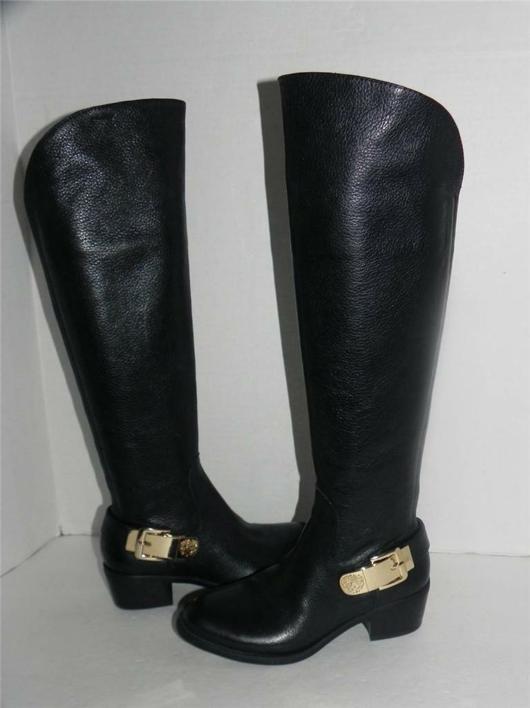 Vince Camuto Bedina Black Leather Buckle Equestrian Equestrian Equestrian Riding Boots 6 95ef77