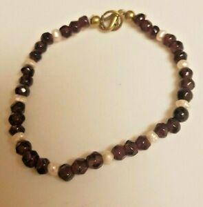 Vintage Faceted Garnets And  Rare Scottish Pearl Bracelet