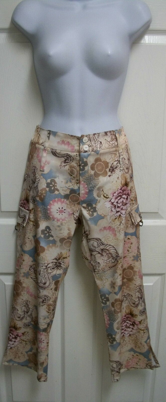 TARK'1 PARIS SEXY STRETCHY SATIN FLORAL BATIK SHORT CARGO CAPRI PANTS FRANCE T2