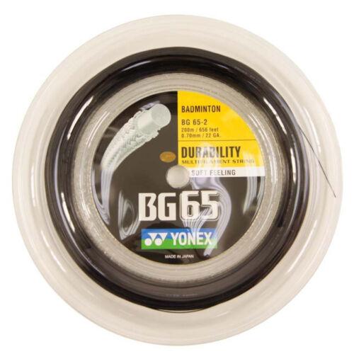 Amber Black Yellow Blue 656ft 200m Reel Badminton String Genuine Yonex BG65