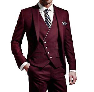 Details about Men Burgundy 3Pcs Slim Fit Suit Tuxedos Groom Wedding Prom  Suit Blazer Custom