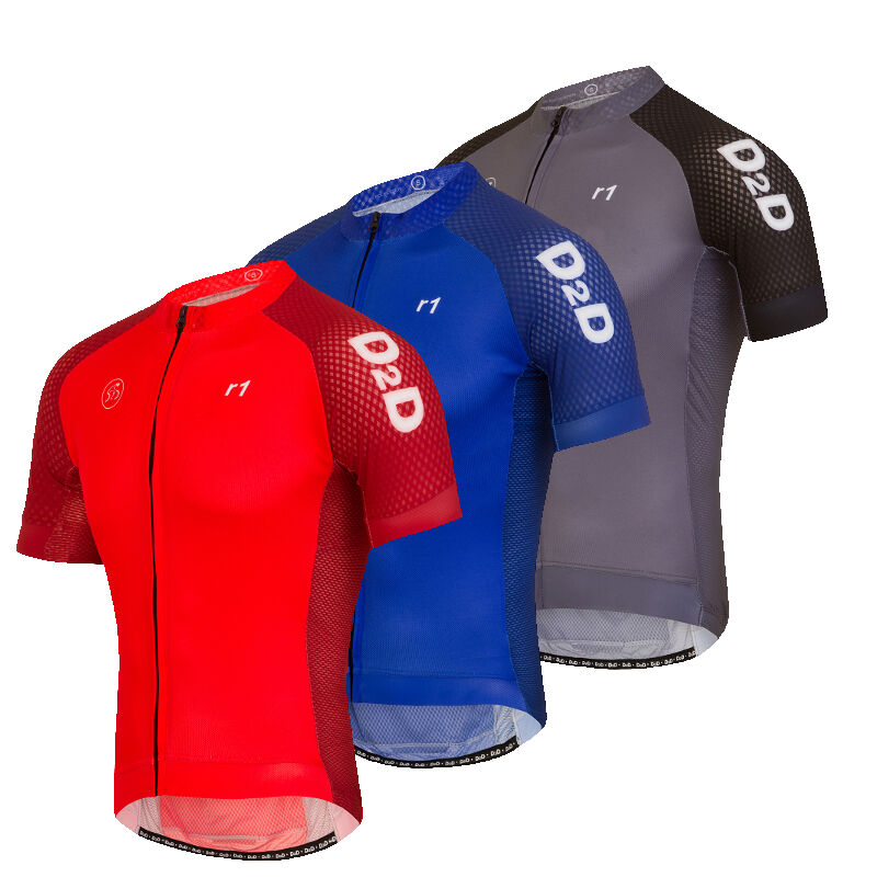 D2D Men's Short Sleeve Cycling Jersey r1  Red, bluee or Grey with sizes up to 4XL