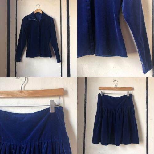 Vintage 1980s Norma Kamali Saphire Blue Velvet Tw… - image 1