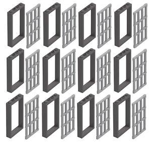 NEW-LEGO-12x-DARK-BLUISH-GRAY-Door-Frame-1x4x6-Part-Pieces-amp-Jail-Prison-Bars