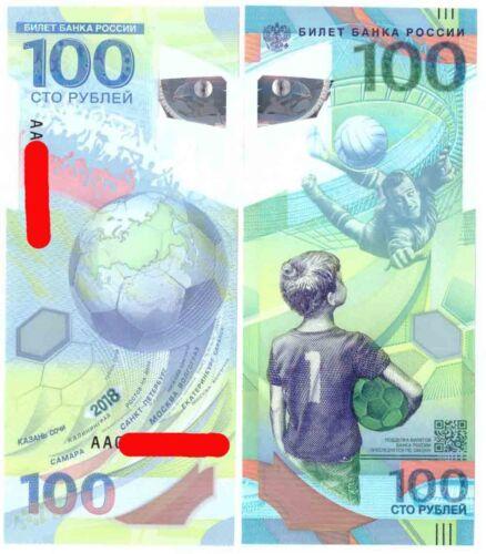 "1 banknote x 100 Rubles Russia 2018 Fifa World Cup Big /""AA/"" prefix."