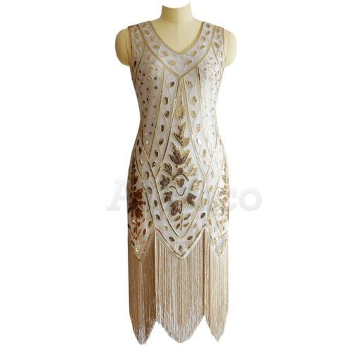 1920s Flapper Dress Great Gatsby Party Wedding Prom Gown Sequins Fringed Dresses