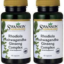 2 X Swanson Rhodiola Ashwagandha Ginseng Complex Reishi Suma Astragalus 120 CAPS