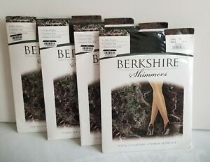 Berkshire Shimmers Ultra Sheer Control Top Pantyhose - Black  4 Pairs Size 2  A1