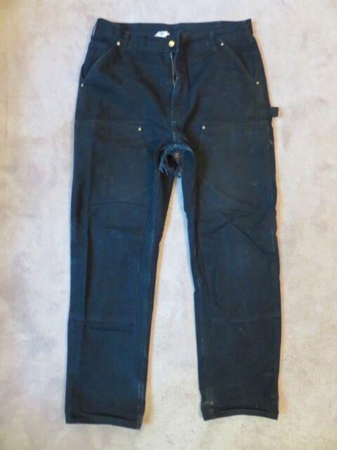 1 Big Hole CARHARTT Dungaree PANTS 36x34 Black Double Front Crust Punk Patch BLK