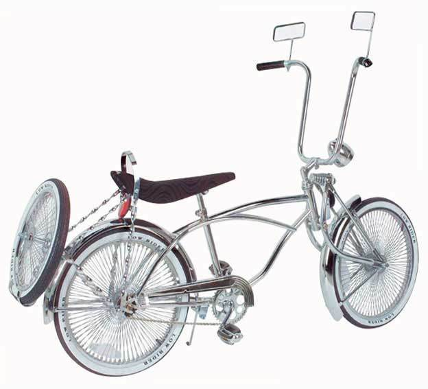 20  Lowrider Bicycle Chrome 144 spokes Bent Fork with 16  wheel Continental Kit