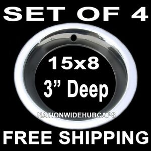 4 Chevy Gm 15 Quot 15x8 Rally Wheel 3 Quot Deep Trim Rings Beauty