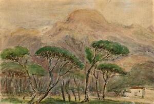 TREES-amp-MOUNTAINS-VIAREGGIO-ITALY-Watercolour-Painting-c1880-IMPRESSIONIST