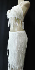 Sexy Bead Belly Dance Dancing Beaded Skirt Bra Lingerie Costume Ivory One Size