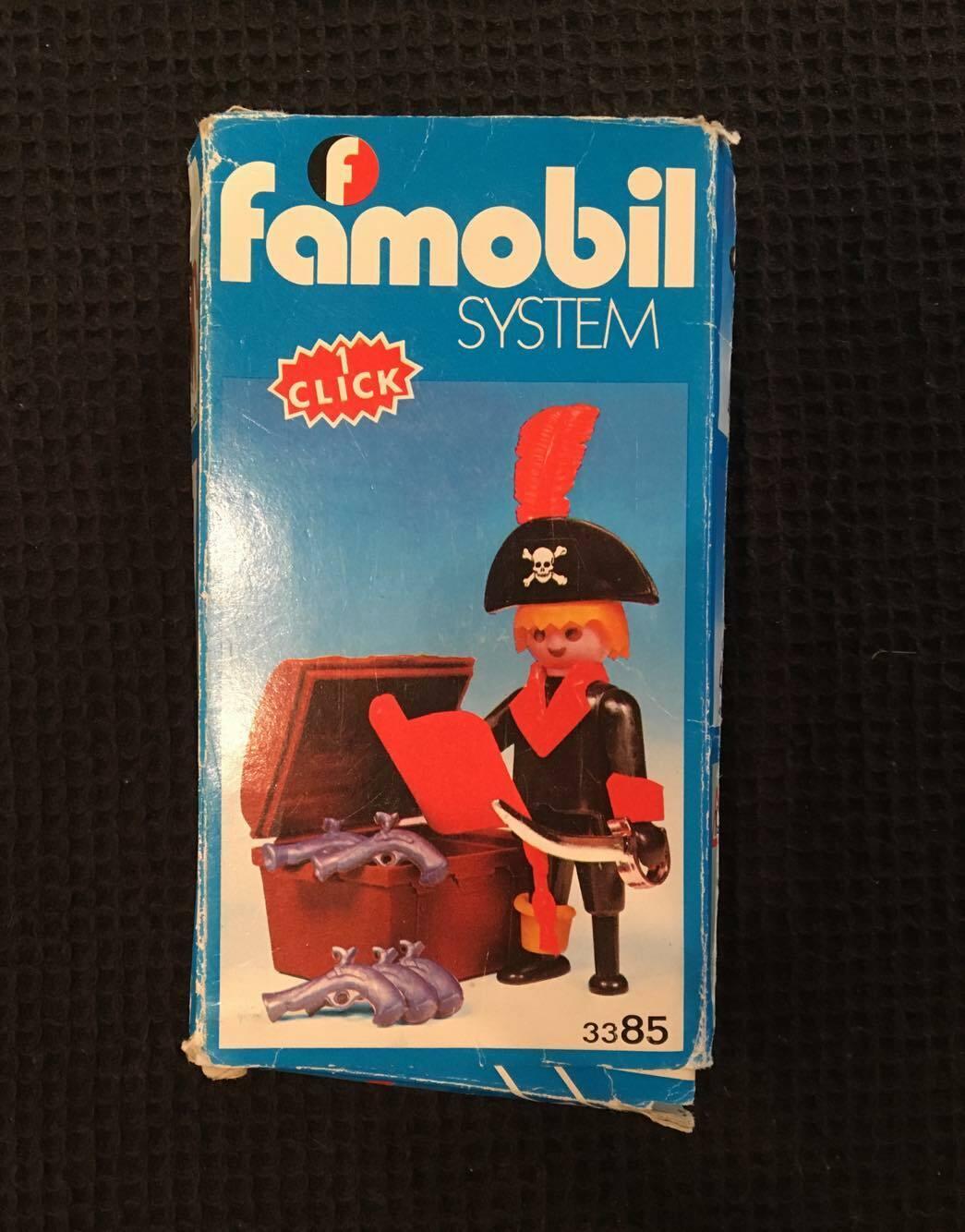 RARE VTG FAMOBIL PLAYMOBIL 3385 PIRATE TREASURE CHEST, 1970´s FAMOSA BOXED SPAIN
