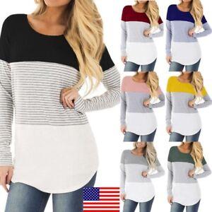 Stylish Women/'s Maternity Top O-Neck Nursing Pregnancy Baby Blouse T-shirts Long
