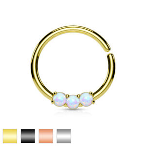 9ee717946 Image is loading Opal-14K-Gold-Plated-Surgical-Steel-Bendable-Cartilage-