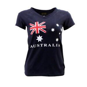 Womens-Ladies-Cotton-T-Shirt-Australian-Australia-Souvenir-V-Neck-Flag-Navy