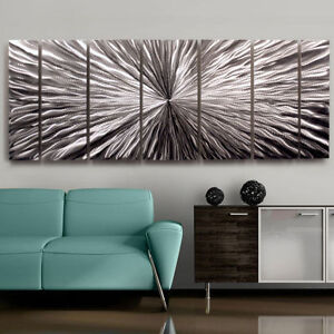 Image Is Loading Large Contemporary Abstract Metal Wall Art Sculpture Silver